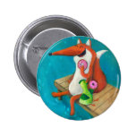 Friendly Fox and Chicken eating donuts Button