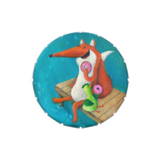 Friendly Fox and Chicken eating donuts Candy Tin