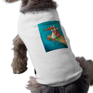 Friendly Fox and Chicken eating donuts Doggie Tee Shirt