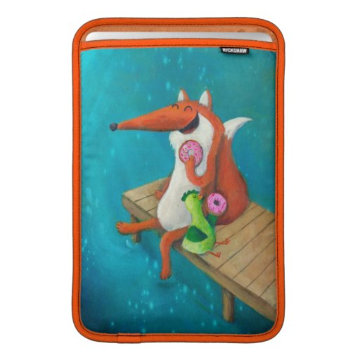 Friendly Fox and Chicken eating donuts Sleeve For MacBook Air