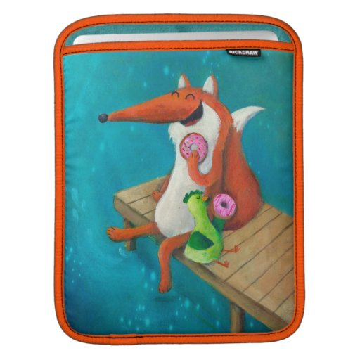 Friendly Fox and Chicken eating donuts iPad Sleeves
