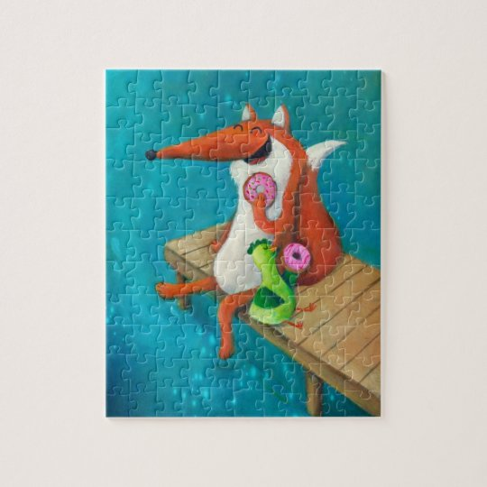 Friendly Fox and Chicken eating donuts Jigsaw Puzzle