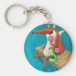 Friendly Fox and Chicken eating donuts Keychains