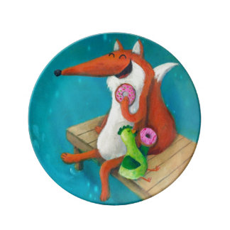 Friendly Fox and Chicken eating donuts Porcelain Plates