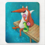 Friendly Fox and Chicken eating donuts Mouse Pads