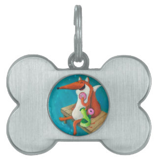 Friendly Fox and Chicken eating donuts Pet Name Tags