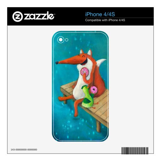 Friendly Fox and Chicken eating donuts Decals For iPhone 4S