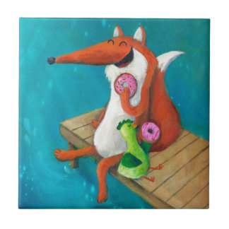 Friendly Fox and Chicken eating donuts Ceramic Tile