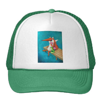 Friendly Fox and Chicken eating donuts Trucker Hat