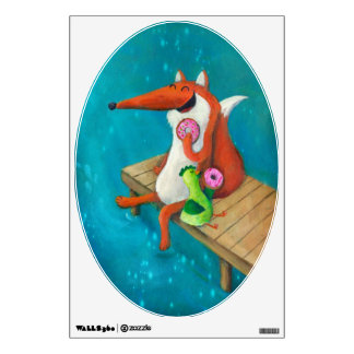Friendly Fox and Chicken eating donuts Wall Decal
