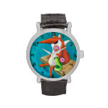 Friendly Fox and Chicken eating donuts Watches