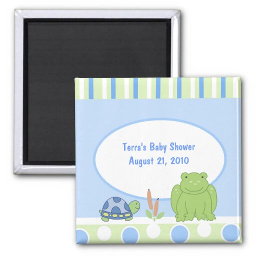 Friendly Frog & Turtle Baby Shower Favor Magnet