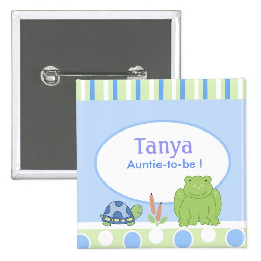 Friendly Frog & Turtle Baby Shower Name Tag Button