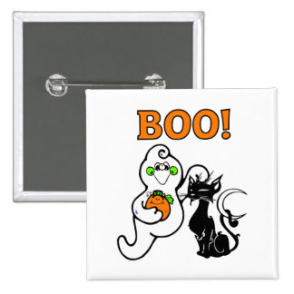 Friendly Ghost and Black Cat Pin