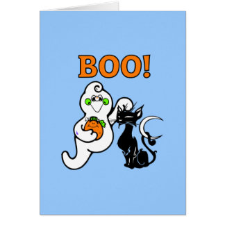 Friendly Ghost and Black Cat Card