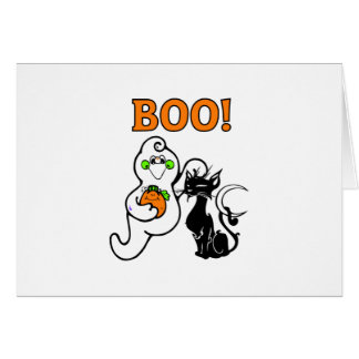Friendly Ghost and Black Cat Greeting Card