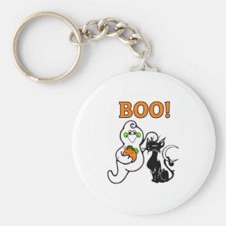 Friendly Ghost and Black Cat Basic Round Button Keychain