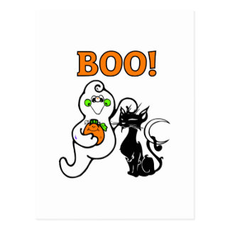 Friendly Ghost and Black Cat Postcard