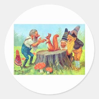 Friendly Gnomes Observe a Squirrel Classic Round Sticker
