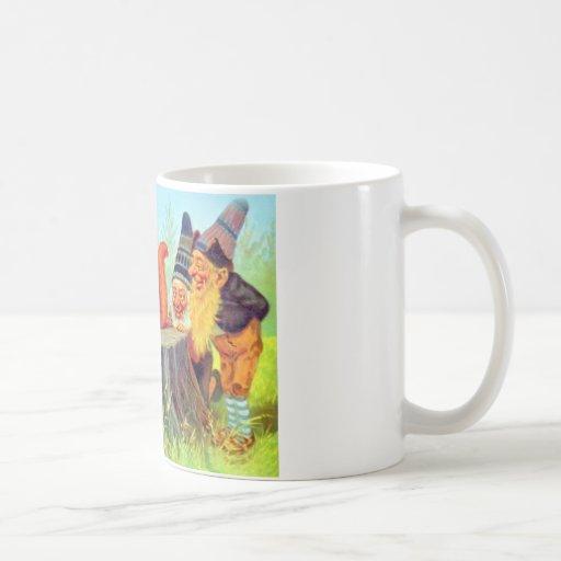 Friendly Gnomes Observe a Squirrel Coffee Mug