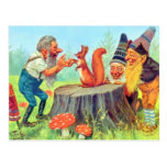 Friendly Gnomes Observe a Squirrel Postcard