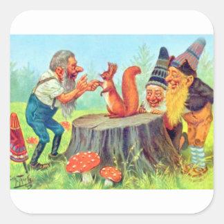 Friendly Gnomes Observe a Squirrel Square Sticker