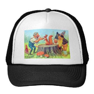 Friendly Gnomes Observe a Squirrel Trucker Hat