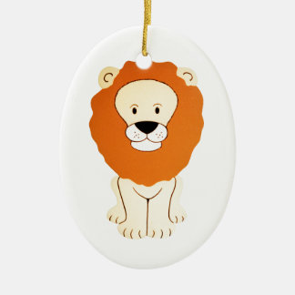 Friendly Golden Lion Ceramic Ornament