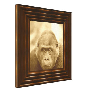 friendly gorilla, sepia canvas print