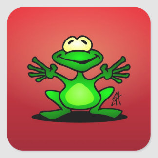 Friendly green frog square sticker
