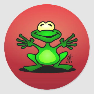 Friendly green frog classic round sticker