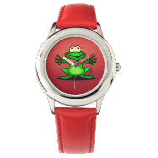 Friendly green frog watches