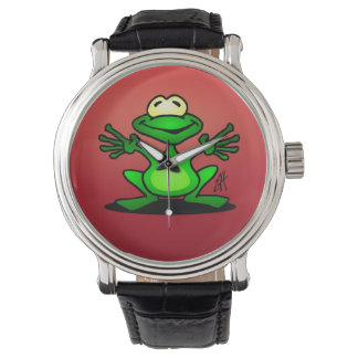 Friendly green frog wristwatch
