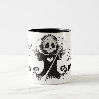 Friendly Grim Ripper - Hug me Two-Tone Coffee Mug