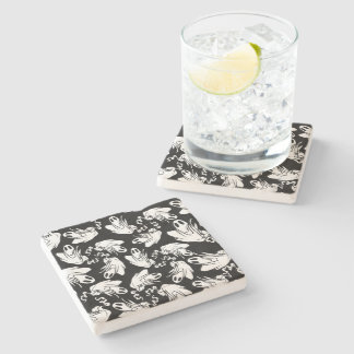 Friendly Halloween Ghosts Floating Your Way! Stone Beverage Coaster