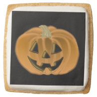 Friendly Halloween Jack O Lantern Cookies Square Sugar Cookie