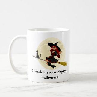 Friendly halloween witch on broom and black cat coffee mug
