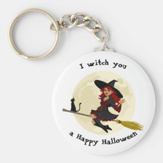 Friendly halloween witch on broom and black cat keychain