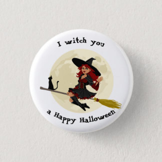 Friendly halloween witch on broom and black cat pinback button