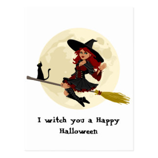 Friendly halloween witch on broom and black cat postcard