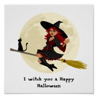Friendly halloween witch on broom and black cat poster