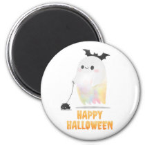 Friendly Happy Halloween Ghost Walking Spider Magnet