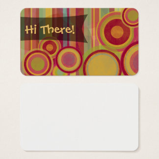 Friendly Happy Notes w/ Abstract Circles & Stripes Business Card