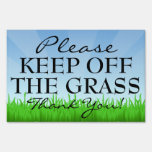 Friendly Keep Off the Grass Lawn Sign