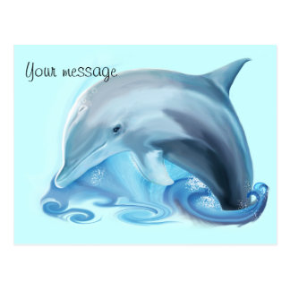 Friendly Leaping Dolphin Customizable Postcard
