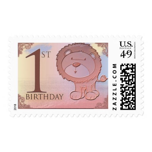 Friendly lion 1st birthday postage stamp