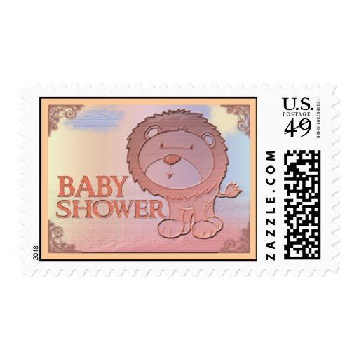 Friendly lion baby shower stamps