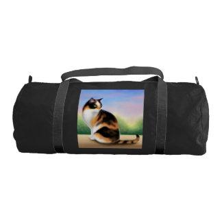 Friendly Little Calico Cat Duffel Bag Gym Duffle Bag