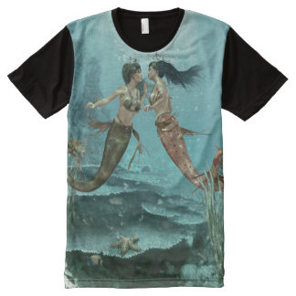 Friendly Mermaids All-Over Print T-shirt