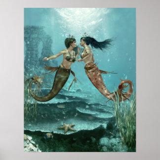 Friendly Mermaids Poster